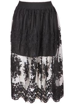 Black Embroidered Sheer Mesh Skirt 14.33