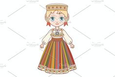The girl in Estonian dress. Graphics Hello) Welcome!This listing is for an instant download :)These images can be used digitally or i by Zoya Miller