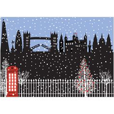 London Sihouette. Pack of 8 embossed Christmas cards with 100gsm, 100% recycled, white envelopes. Blank for your own message.