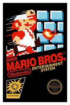 Super Mario Bros. Poster Nintendo 8bits NES Video by GeekyPrints