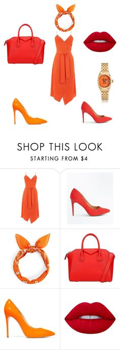"""""""Color-Analogous"""" by aphillips686 ❤ liked on Polyvore featuring Warehouse, New Look, Givenchy, Casadei and Lime Crime"""