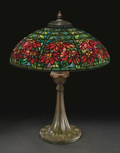 """Lot   Sotheby's ESTATES OF DR. LAURENCE AND DOROTHY GROSSMAN, NASHVILLE, TENNESSEE TIFFANY STUDIOS """"DOUBLE POINSETTIA"""" TABLE LAMP with a """"Tyler"""" base shade impressed TIFFANY STUDIOS NEW YORK 1551 base impressed TIFFANY STUDIOS/NEW YORK/368 leaded glass and patinated bronze 28 in. (71.1 cm) high 22  3/8  in. (56.8 cm) diameter of shade circa 1910 Estimate 120,000 — 180,000 USD  LOT SOLD. 221,000 USD  (Hammer Price with Buyer's Premium)"""