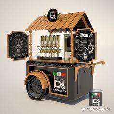 Mobile Coffee Cart, Mobile Food Cart, Food Cart Design, Food Truck Design, Coffee Carts, Coffee Truck, Kiosk Design, Cafe Design, Food Cart Business