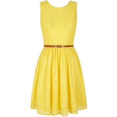 Yumi Lace Day Dress found on Polyvore featuring dresses, women, yellow, sleeveless skater dress, waist belt, yellow wrap dress, sleeveless lace dress and yellow skater dress