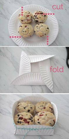Make a gift box out of a paper plate. Use for muffins, cookies, or other homemade treats in a festive and cheap way. Food Gifts, Craft Gifts, Ideias Diy, Paper Plates, Paper Plate Box, Styrofoam Plates, Paper Cups, Homemade Gifts, Homemade Cookies