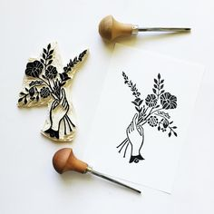 Tuesday afternoon carving and printing as I dream of my next tattoo.