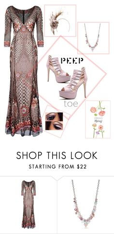 """Peep toes w/ a maxi dress"" by im-karla-with-a-k ❤ liked on Polyvore featuring Temperley London, Kim Rogers and Philip Treacy"
