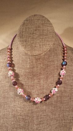 Pink Czech Glass Bead Necklace Floral Beads by SpringHammock