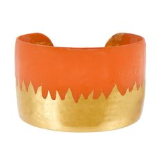 """Flame orange meets incandescent 22K gold and creates an abstract skyline. 22K gold leaf 1.5"""" width 2.5"""" diameter Floral Crown, Floral Motif, Orange Wedding Colors, Have Some Fun, Nice Tops, Pumpkin Spice, Autumn Leaves, Fashion Forward, Latest Fashion"""