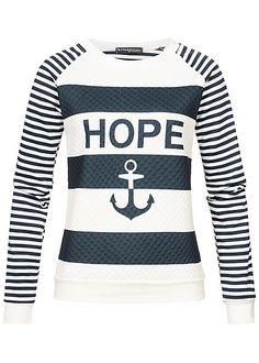 01972813a456cc Styleboom Fashion Damen Crew Neck Sweater Striped Hope   Anchor Print weiss  blau - Art.