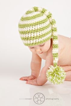 Long Tail Pom hat Crochet PATTERN ---> 0 - 12M