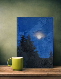 moon fullmoon landscape night blue pinewood Abstract