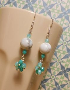 ee955b6ec1 earring made of mineral and plastic beads Plastic Beads, Mineral, Pearl  Earrings, Pearl