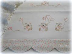 Buona giornata a tutte! Oggi viva gli orsetti! I disegni li trovate qui : A presto, Claudia ... Baby Sheets, Cot Sheets, Baby Bedding Sets, Baby Embroidery, Embroidery Stitches, Embroidery Patterns, Embroidered Pillowcases, Needlework, Diy And Crafts