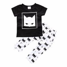 Baby Boy's Black Cotton Top Bat Patterned Tee & Black Pants/Bottom Set, 35% discount @ PatPat Mom Baby Shopping App
