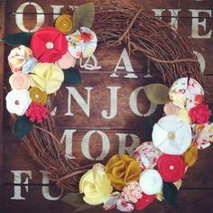 Spring wreath, summer wreath, grapevine wreath, felt flower wreath, wreath, gift idea on Etsy, $50.00