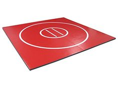 Discounted AK Athletics x Roll-Up Home Use Wrestling Mat Red with White Circles and Starting Lines Cross Link, Boxing Fight, Gym Mats, Training Pads, Inner Circle, Athlete, Wrestling, Garage Gym, High Schools