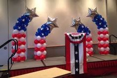 Shooting patriotic stars balloon decor