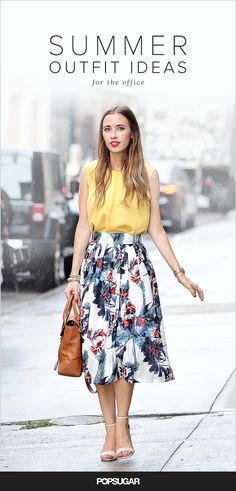 A bold-colored top, a printed floral midi skirt, and a versatile purse is all you need to look fresh and polished for the office this Summer.
