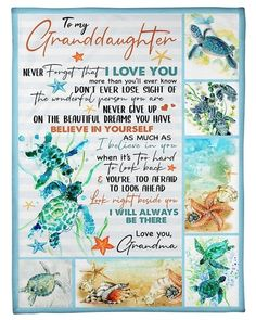 [Customized] To Granddaughter from Grandma Elephants and flowers Homemade Blankets, Ink In Water, Birthday Gifts For Husband, Beautiful Dream, Love You More Than, Gold Ink, Grandma Gifts, Never Give Up, Feelings