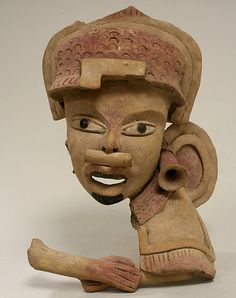 Head, Fragment  Date:     6th–9th century Geography:     Mexico, Mesoamerica, Veracruz Culture:     Remojadas Medium:     Ceramic, pigment, tar