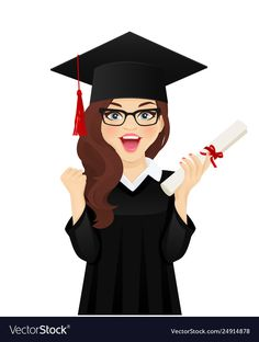 Surprised student girl vector image on VectorStock Graduation Cap Images, Graduation Party Decor, Graduation Flowers, Happy Birthday Flower, Happy Birthday Girls, Islamic Girl, Graduation Photography, Congratulations Graduate, Free Girl