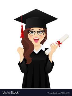 Surprised student girl vector image on VectorStock Graduation Cap Images, Graduation Party Decor, Graduation Flowers, Graduation Ideas, Happy Birthday Flower, Happy Birthday Girls, Leprechaun Girl, Islamic Girl, Graduation Photography