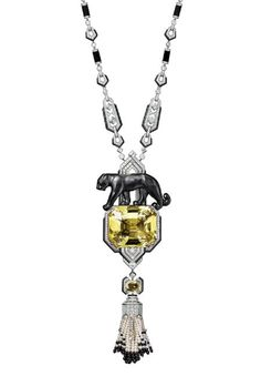 CARTIER PANTHER NECKLACE OF PLATINUM, DIAMONDS, FINE PEARLS, YELLOW-GREEN SAPPHIRES, CARVED BLACK JADE, ONYX AND A 121.81-CARAT YELLOW CUSHION-CUT BERYL. CARTIER
