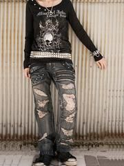2WAY GRUNGE CRASH Denim Pants Blue Denim / See more at http://www.cdjapan.co.jp/apparel/sexpot.html #harajuku #punkfashion