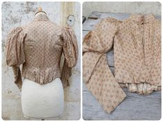 Antique 1850s/1900s French Victorian Corset Manches Gigot blouse floral silk