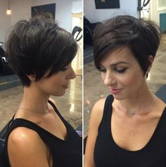 "50 Cute and Easy-To-Style Short Layered Hairstyles [ ""Long Pixie With Side Bangs would want it over my ears and angled to the back.not the ear cut out"", ""22 Amazing Long Pixie Haircuts for Women - Daily Short Hairstyles 2017"", ""The Grunge Girl Short layered bob hairstyles are quite popular now. This style is achieved by leaving the front longer and stacking the back. The bangs are kept extra-long and grazed with a lighter hue for a lovely detailed look."", ""Edgy Crop for Fine Hair For ..."