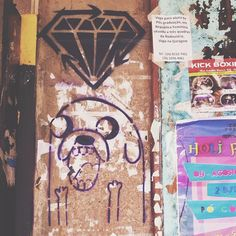 Photo i take of jake of adventure time in a wall <3