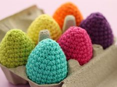 Make a carton of Crochet Easter Eggs in rainbow hues - I've used Sugar 'n Cream cotton yarn for mine. Also includes stitch instructions with pictures Easter Crochet, Knit Crochet, Rainbow Crochet, Easter Crafts, Easter Eggs, Raspberry, Crochet Patterns, Stitch, Knitting