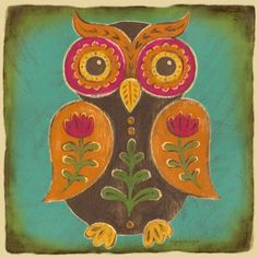 """Folklore Owl - Orange"" kids wall art by Genevieve Gail Swinford for Oopsy daisy, Fine Art for Kids $139"