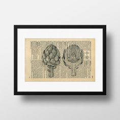 Artichoke Dictionary Art  Art print on by FramedBooksArt on Etsy