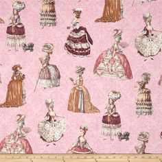 Paris Panache French Ladies Pink from @fabricdotcom  Designed by Jessica Mundo for Robert Kaufman, this cotton print is perfect for quilting, apparel and home decor accents. Colors include pink, peach, black, white, grey, yellow, brown and dark rose.