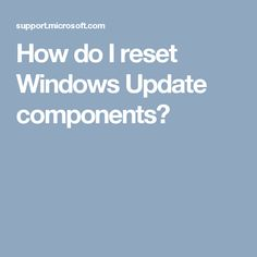 How do I reset Windows Update components?