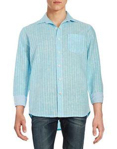 Tommy Bahama Striped Sportshirt Men's Blue X-Large
