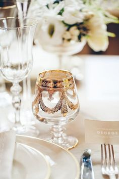 Gold stemware wedding table
