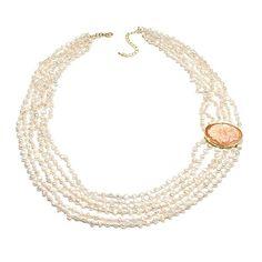 "AMEDEO NYC® ""Miniera"" Gemstone Beaded Cameo Necklace...I like the off centet cameo like design"