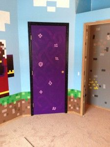 Minecraft Room 19 - My Minecraft World Boys Minecraft Bedroom, Minecraft Room Decor, Minecraft Projects, Minecraft Party, Painted Bedroom Doors, Painted Doors, Room Ideas Bedroom, Bedroom Themes, Minecraft Server
