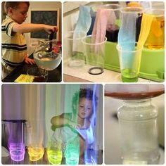 4 divertidos experimentos para niños con agua. Experimentos infantiles con agua: xilófono de agua, agua que camina, hacer que llueva en un frasco y qué se disuelve en agua.