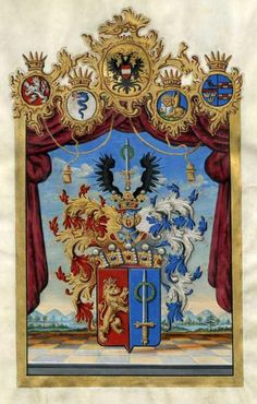 Austrian Grant of Nobility and of Arms to Vincenz Freiherr von Augustin, 1822.