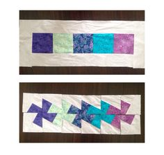 "Demo of midi twister quilt ruler. Started with 5 - 6 1/2"" squares framed with 4"" border fabric, then cut with midi twister ruler - now I need to sew those squares together. Easy beginner quilt. By Dawn"