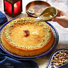 Kunafa is a traditional dessert that I grew up eating. One of my favorite Middle Eastern sweets.