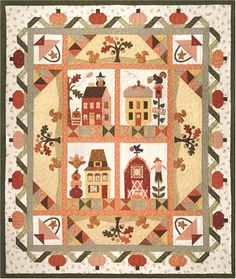 Pumpkin Patch Lane Pattern Set : This adorable quilt is filled with fun little pumpkins and cute little squirrels to set the stage for your autumn decor! Pumpkin Patch Lane pattern set includes all 6 patterns to complete the quilt plus a fabric accessory packet for the images in the windows. Finished quilt size measures 64