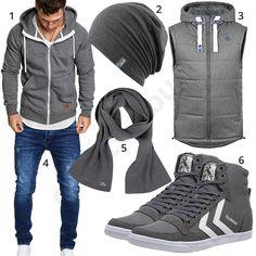 Graues Herrenoutfit mit Hoodie, Weste und Sneakern #hoodie #weste #sneaker #jeans #outfit #style #herrenmode #männermode #fashion #menswear #herren #männer #mode #menstyle #mensfashion #menswear #inspiration #cloth #ootd #herrenoutfit #männeroutfit