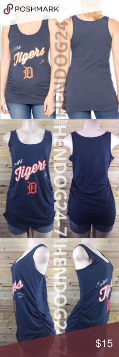 MOTHERHOOD MLB FUTURE FAN DETROIT TIGERS TANK NEW WITHOUT TAGS - NEVER WORN - LINE THROUGH BRAND LABEL.  MLB ATLANTA BRAVES MOTHERHOOD MATERNITY TANK TEE   - MOTHERHOOD MATERNITY MLB TANK TEE  - GRAPHICS: MLB TEAM LOGO OUTLINED W/ METALLIC SILVER   - MSRP $24.98  - PRODUCT CODE #006-97776-021-001  - SCOOP NECK LINE  - NAVY TOP  - TANK TOP  - SIDE RUCHING  - FINISHED HEM TRIM  - MATERIAL: 51% COTTON, 49% POLYESTER  - MACHINE WASHABLE COLD  - MADE IN GUATEMALA Motherhood Maternity Tops Tank…