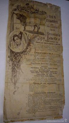 L950 Cartel de toros de Filipinas. Manila. 25 Julio 1914. Día Español. Becerrada benéfica. 20X42