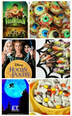 10 Halloween Movie Night Ideas. Includes a fun treat idea that goes along with each Movie!: